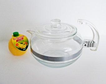 Pyrex Tea Pot Flameware #8126 B Vintage Glass Retro Kitchen Carafe Kettle Early Teapot Inverted Handle 1947 Blue Tint Flameware
