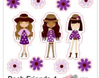 Planner Stickers Posh Friends 4 Boho Chick Girls in Purple Florals