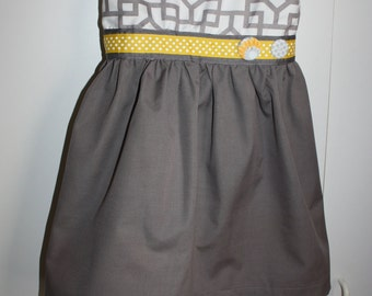 Girls Size Three Grey Dress With Yellow and Grey Ribbon and Buttons