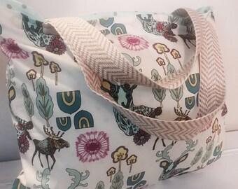 Deer tote, deer diaper bag, rustic tote, bag, antler, moose, beach bag, summer bag, extra large bag, extra large tote, overnight bag, rustic