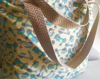 Scooters, mopeds, tote, bag, diaper bag, beach tag, summer tote, reversible tote, extra large bag, extra large tote, bag, tote, extra-large