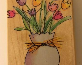 Hero Arts Wood Mounted Rubber Stamp 'Spring Tulip Sketch'