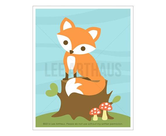 52A Fox Art Print - Fox Sitting on Tree Stump Wall Art - Baby Fox Woodland Nursery Decor - Baby Boy Gift - Fox Nursery - Baby Fox Wall Art