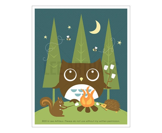 56A Owl Nursery Print - Campfire Woodland Animals and Owl Wall Art - Owl Nursery Art - Cabin Decor - Camping Art - Camping Decor - Owl Print