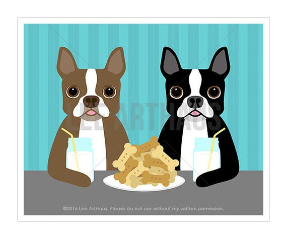 278D Dog Art - Two Boston Terrier Dogs Sharing Cookies and Milk Wall Art Print - Milk and Cookies Print - Boston Terrier Gift - Dog Drawing