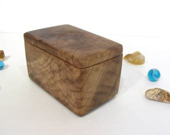 Oregon Myrtlewood Box, small pet urn, guitar pick box, presentation box, earring box, wooden jewelry box, office desk organizer