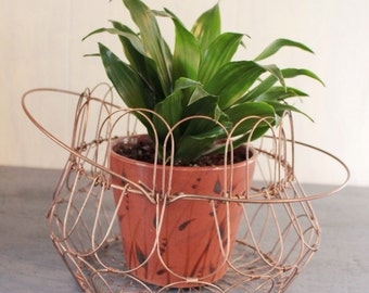 copper wire basket - collapsible metal wire fruit basket - french egg basket