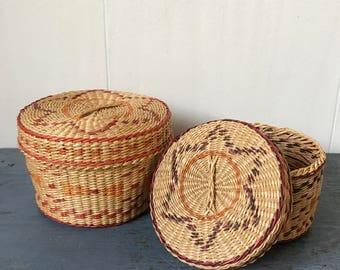 vintage nesting baskets - round lidded woven grass basket - purple orange