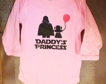 Long Sleeve Baby Bodysuit - Daddy's Princess - One Piece Baby Creeper - Pink