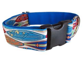 Dog Collar for Boy - Wide Dog Collar - Large Dog Collar - 1.5 Inch Dog Collar - Blue Dog Collar  - Cute Dog Collar - Custom Dog Collar