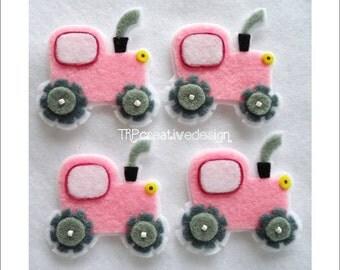 Tractor Felt Applique, feltie, felties, handmade felty embellishment supply, hairclip, hair bow, assessories, scrapbook, card, wholesale