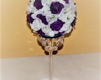 "Kissing Ball 5"" wedding centerpiece Glass Candle holder Topiary Wedding Flower Decoration Pomander Ball Centerpiece"