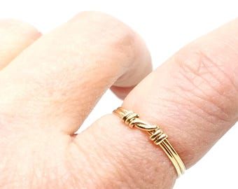 Knot an Ordinary Kind of Love Shibari Themed Gold Fill Knot Ring
