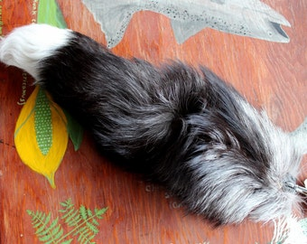 Fox tail - real eco-friendly silver fox fur totem dance tail on carabiner keychain for shamanic ritual and dance SV01