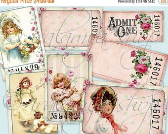 SALE ANTIQUE TICKETS Collage Digital Images -printable download file-