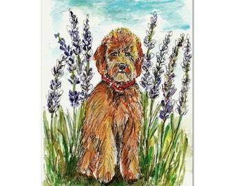 Goldendoodle in Lavender Field, Original Dog Watercolor, Doodle Art, Dog Portrait, Watercolor Painting, golden doodle painting