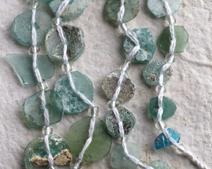 ANCIENT ROMAN GLASS No. 218 .. Genuine Antique Roman Glass Fragment Beads (rg-218)