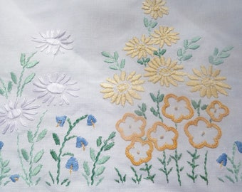 pretty heavily hand embroidered garden flowers tablecloth 41x42 inches