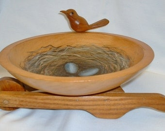 Wooden Bowl Wheelbarrow with Wood Bird - Hand Painted Birds nest with Eggs