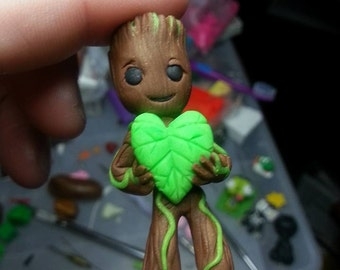 Groot Kid Pendant Necklace hand sculpted one of a kind glow in the dark