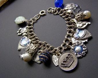 Heart Charm Bracelet,  Cat Charm Bracelet, Vintage Style Silver Charm Bracelet, Blue Enamel Jewelry, Vintage Assemblage Jewelry