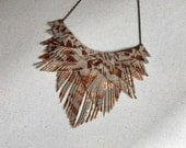 Beige and Copper Fringe Suede Necklace