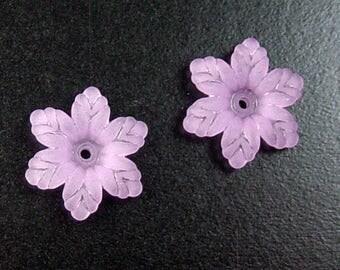 CLEARANCE Acrylic Bead 10 Star Daisy Flower Purple 6-Petal Frosted 19mm (1031luc19m1-4)os