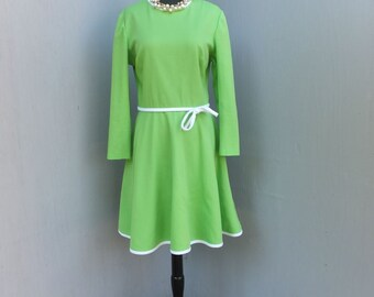 Vintage 1970s Knit Dress, Hay Pence, Green and White Career or School Dress, Day Dress, St. Patricks Day, FlirtY and Fun Dress
