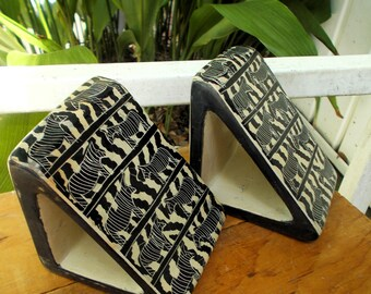 Heavy Stone African Kenya Hand Carved Besmo Bookends with Zebra Motif / Sleek Modern Home Design