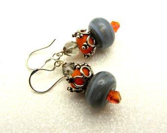 Lampwork Earrings Gray and Orange Earrings Glass Bead Earrings Dangle Drop Earrings With Swarovski Crystal SRAJD USA Handmade