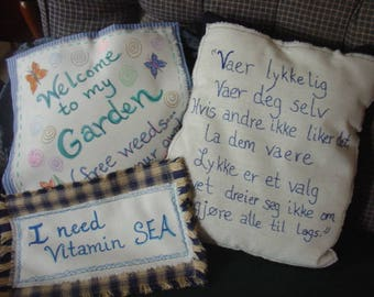 Made to Order Pillows/Pillow Covers, Hand Written in Fabric Markers, Your Choice of Sayings and Sizes, All Occasions