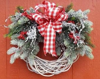 Holiday Wreath...Iced Wreath....Christmas Wreath