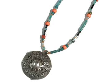 Sterling Silver Southwest Pendant, Sourhwest bead mix, Hill Tribes Silver Necklace