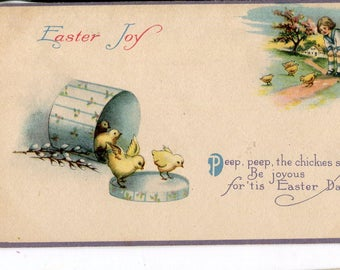 Easter postcard-  darling Easter chicks, hat box  and child vintage Easter post card