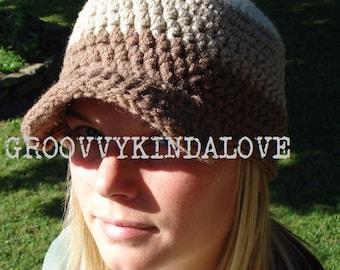 Crochet Baseball Hat Hippie Rasta Bill Cap Visor Sun