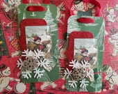 Handmade Christmas tags, Set of Two, Santa in Sleigh