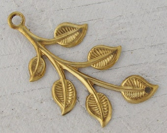 Raw Bare Naked Brass Leaf Connectors Botanical Jewelry Finding 1519L x6