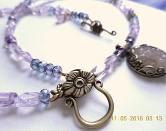 Naturally Romantic ... necklace, rose amethyst, druzy pendant ... #728
