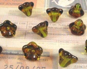 Czech Tropical Topaz 11x13mm Glass Bell Flowers - 10 Count