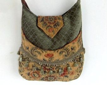 Tapestry Fringe Bag Messenger Bag Bohemian Green   Gypsy bag renaissance bag messenger bag medieval bag