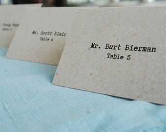 Rustic Kraft Place Cards | Kraft Escort Cards | Typewriter Wedding Reception Name Card | Michelle & Kent