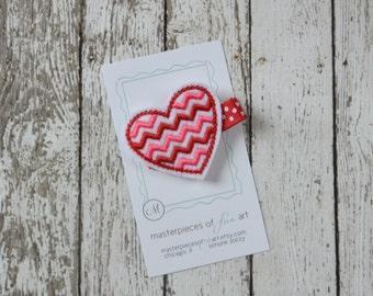 Valentines Day Chevron Heart Felt Hair Clip - red, pink and white polka dots - Valentine Clippie - Non Slip Grip Clip