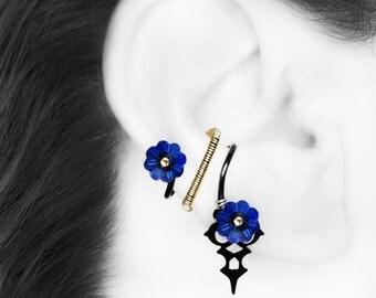 Blue Swarovski Crystal Ear Cuff, No PIercing Needed, Steampunk Ear Cuff, Cartilage Jewelry, Blue Crystal Cuff, Youniquely Chic,  Nyx III v24