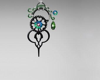 Steampunk Pendant, Swarovski Crystal Necklace, Vitrail Medium Swarovski, Statement Earrings, Wire Wrapped Steampunk Jewelry, Poine v5