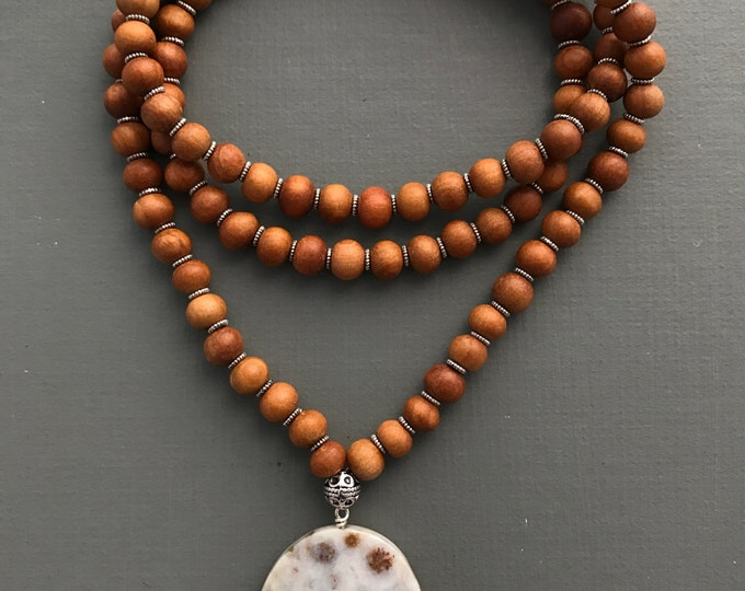 traditional sandalwood 108 beaded mala necklace, ocean jasper focal  stone /long necklace with pendant, long necklace, wood necklace, yoga