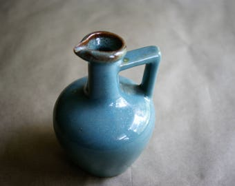 Vintage Small Aqua Jug or Ewer with Handle Rustic Farmhouse Stoneware Kitchen Decor Bulbous Body and Narrow Neck for Syrup