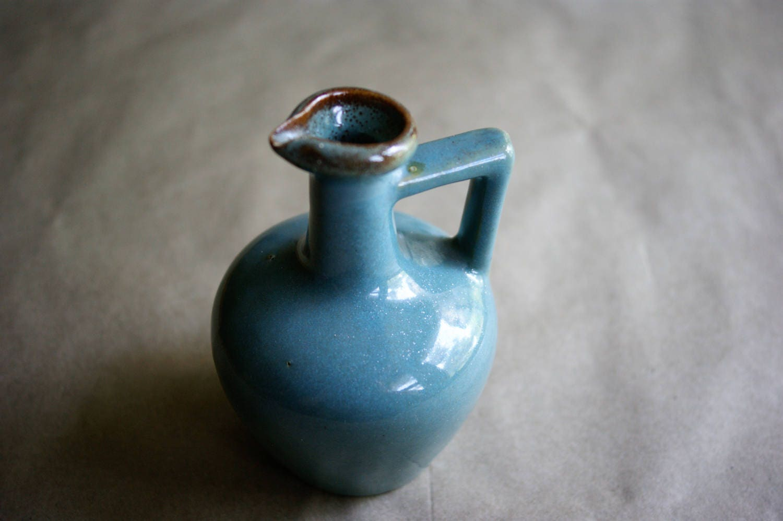 Vintage Small Aqua Jug or Ewer with Handle Rustic Farmhouse