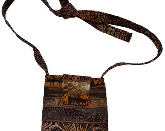 Small Batik Purse in Brown with Adjustable Straps