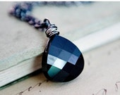 Black Friday Sale Dark Crystal Necklace, Crystal Pendant, Crystal Jewelry, Black Pendant, Swarovski Crystal, Sterling Silver, Noir, Dark, Po