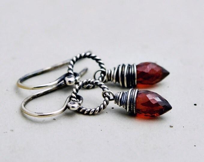 Garnet Earrings, Drop Earrings, Garnet Jewelry, January Birthstone, Wire Wrapped, Sterling Silver,